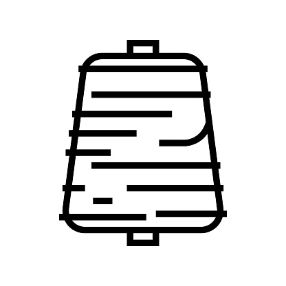 thread roll textile line icon vector illustration