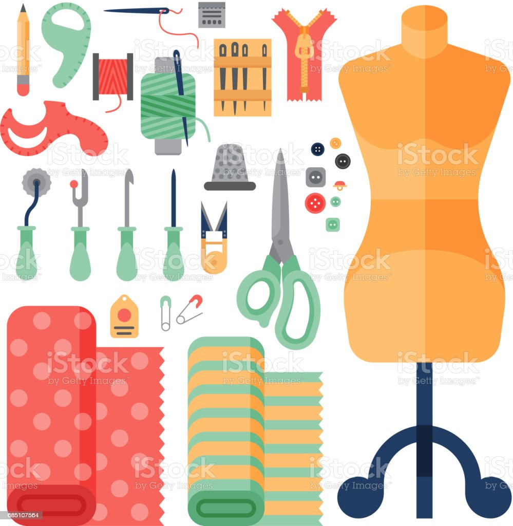 Thread Supplies Accessories Sewing Equipment Tailoring Fashion Pin Craft Needlework Vector Illustration Royalty Free Stock