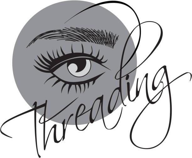 Threading eyebrows salon logo vector art illustration