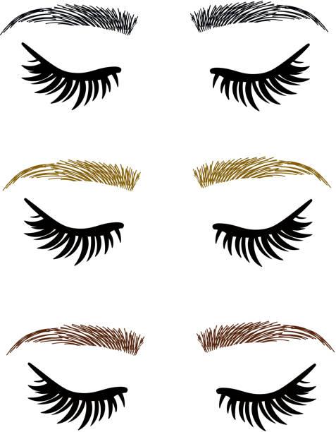 Threading salon, Eyelash Extensions, closed Eyes, Eyebrows vector art illustration