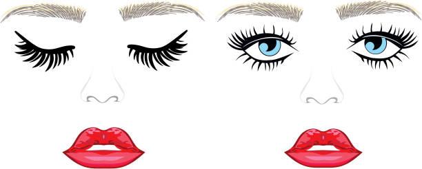 Threading salon, Eyelash Extensions, Eyes, Eyebrows vector art illustration