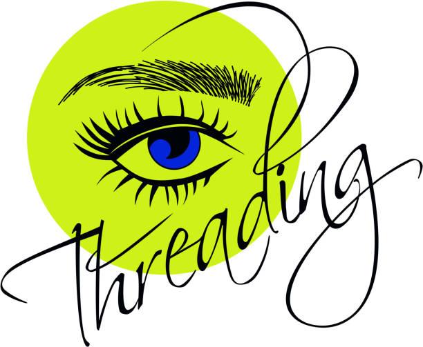 Threading salon logo vector art illustration