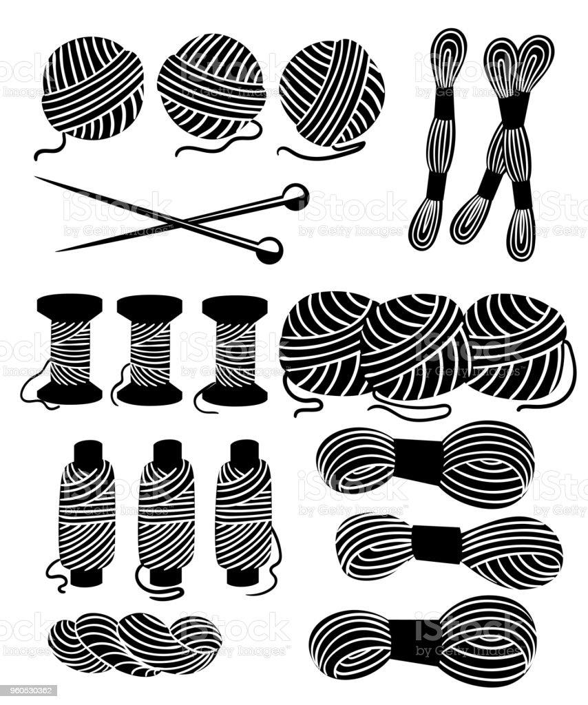 Ilustración de Hilos Para Coser De Cruz Costura Conjunto ...