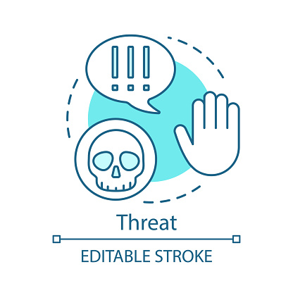 Threat turquoise concept icon. Virus, danger, warning hand idea thin line illustration. Exclamation mark sign, cyber attack, hacker. Attention sign. Data thief vector isolated outline drawing. Editable stroke
