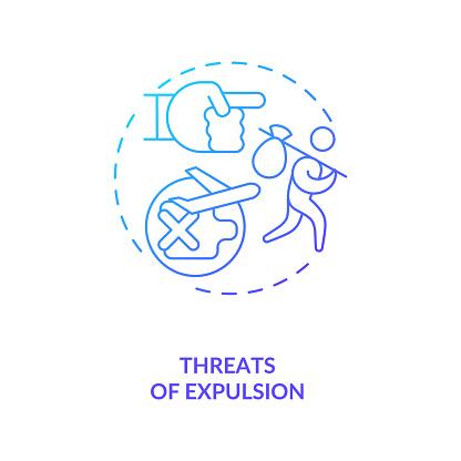 Threats of expulsion blue gradient concept icon