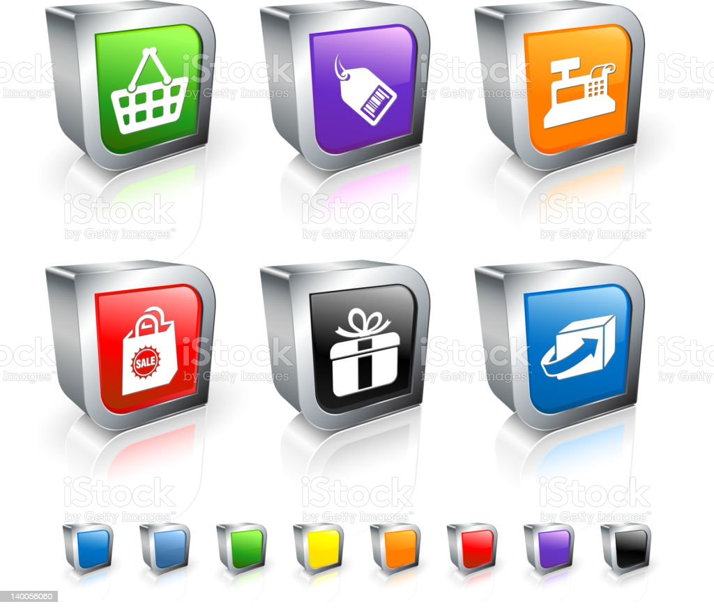 Three 3d commerce icons in different colours royalty-free stock vector art