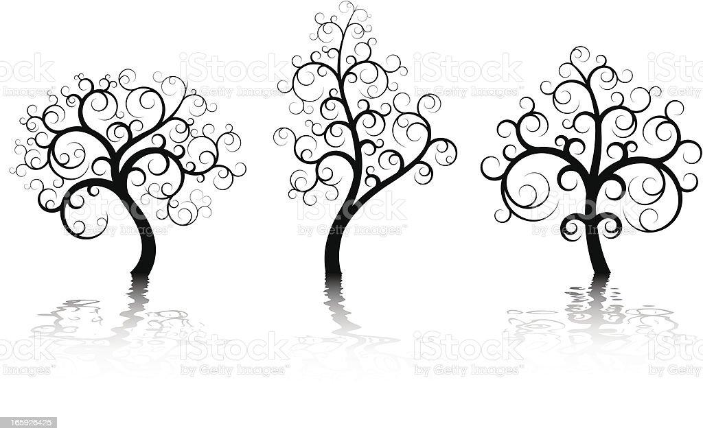 Three Abstract Trees vector art illustration