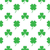 Three And Four Leaf Clover Seamless Pattern