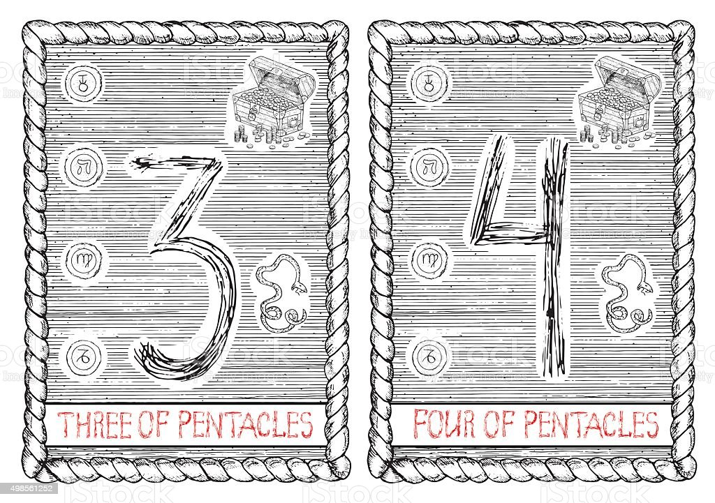 Three And Four Of Pentacles The Tarot Card Stock