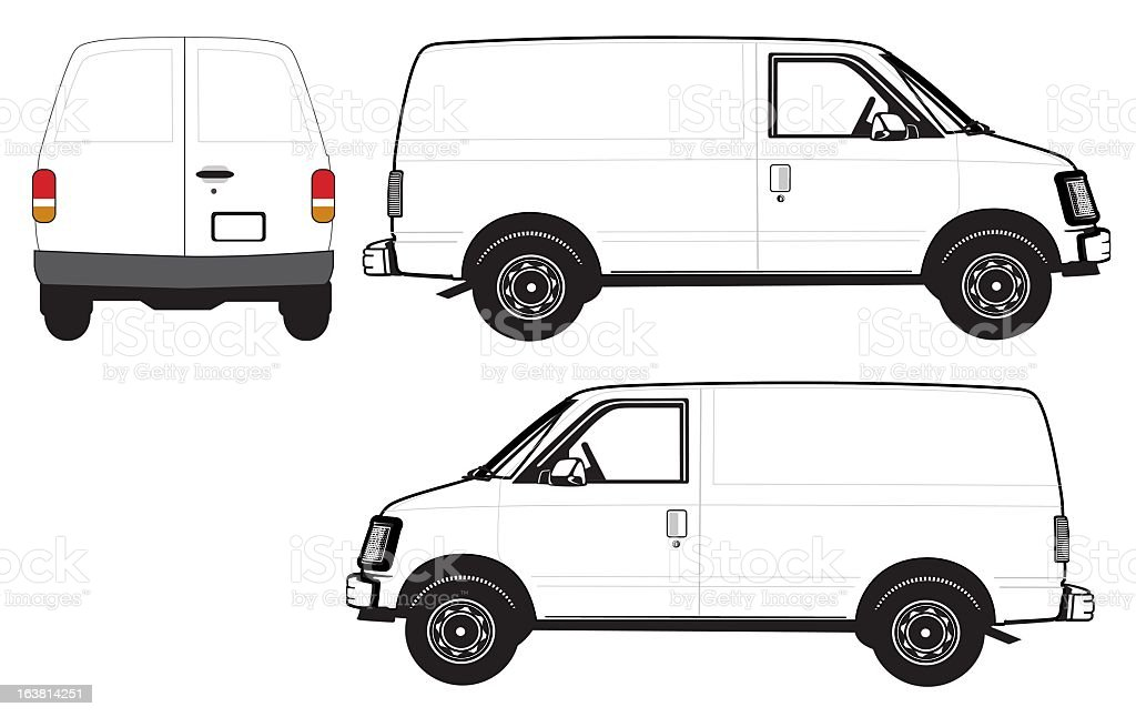 Three angles of white cartoon van vector art illustration