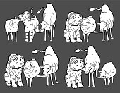 Three Animals In Four Actions, Sheep, Lamb, Tiger, Camel Vector Illustration, Cute Animals in different poses, biting and kissing actions by animals, black background, variety animal motions, sketchy animal drawings, animal stories, little hearts.