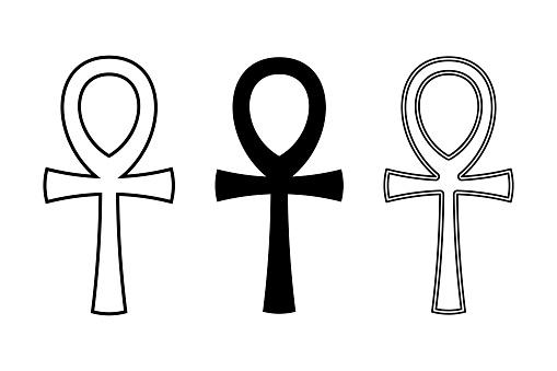 Three ankh symbols, key of life, cross with handle, hieroglyphic symbol
