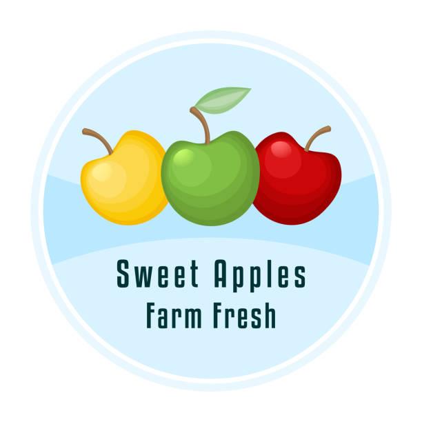Three apples decorative label. vector art illustration