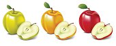 Vector illustration of three aples. ZIP includes large JPG 2000x5000 px.