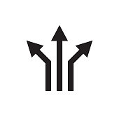 Three arrows - black web icon vector illustration. Direction sign. Graphic design element.