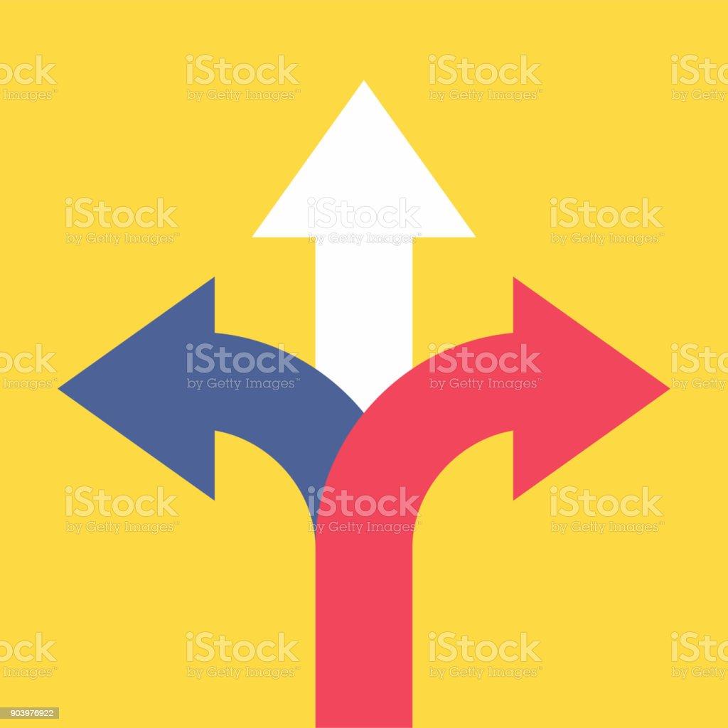 三箭頭指向不同的方向。選擇方式概念。 - 免版稅不確定圖庫向量圖形