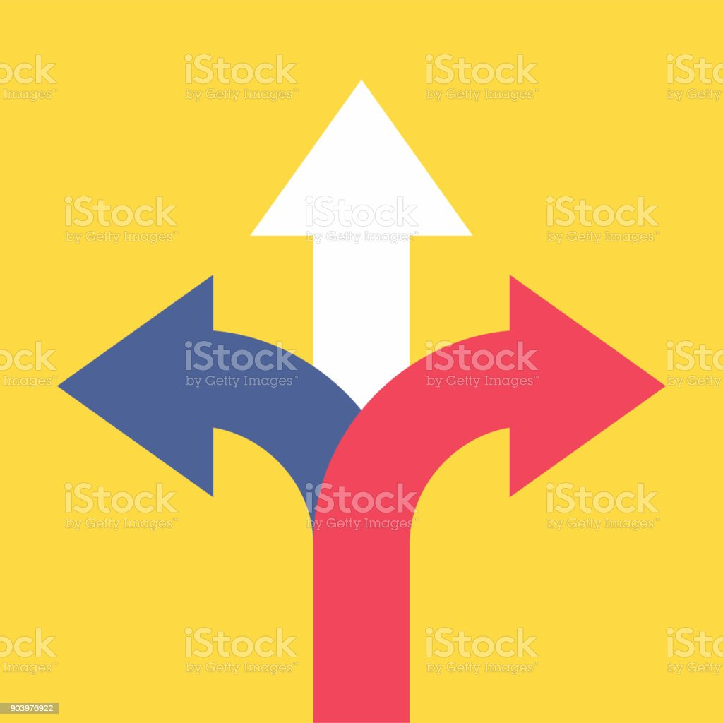 Three arrows pointing in different directions. Choose the way concept. vector art illustration