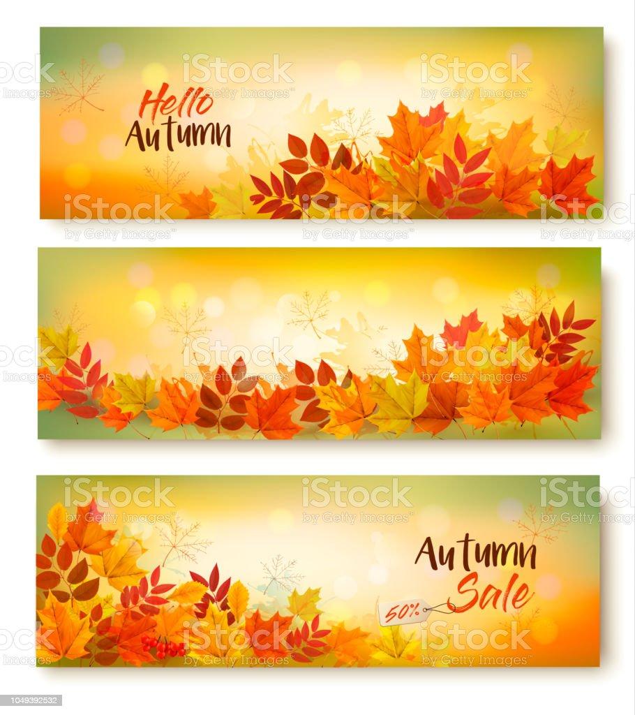 Trois bannières de vente d'automne avec les feuilles colorées. En couches vectorielles trois bannières de vente dautomne avec les feuilles colorées en couches vectorielles vecteurs libres de droits et plus d'images vectorielles de abstrait libre de droits