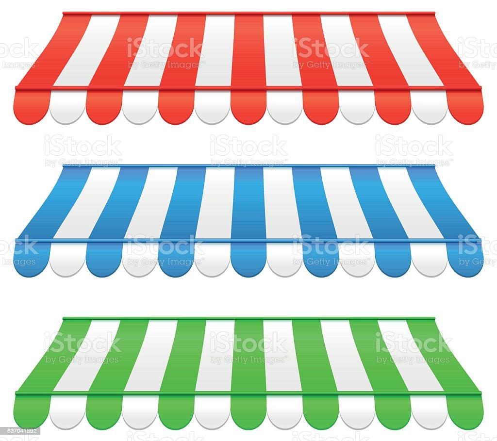 three awnings vector art illustration