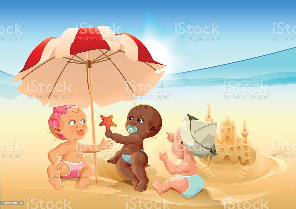 Three baby playing on beach royalty-free three baby playing on beach stock vector art & more images of 12-17 months