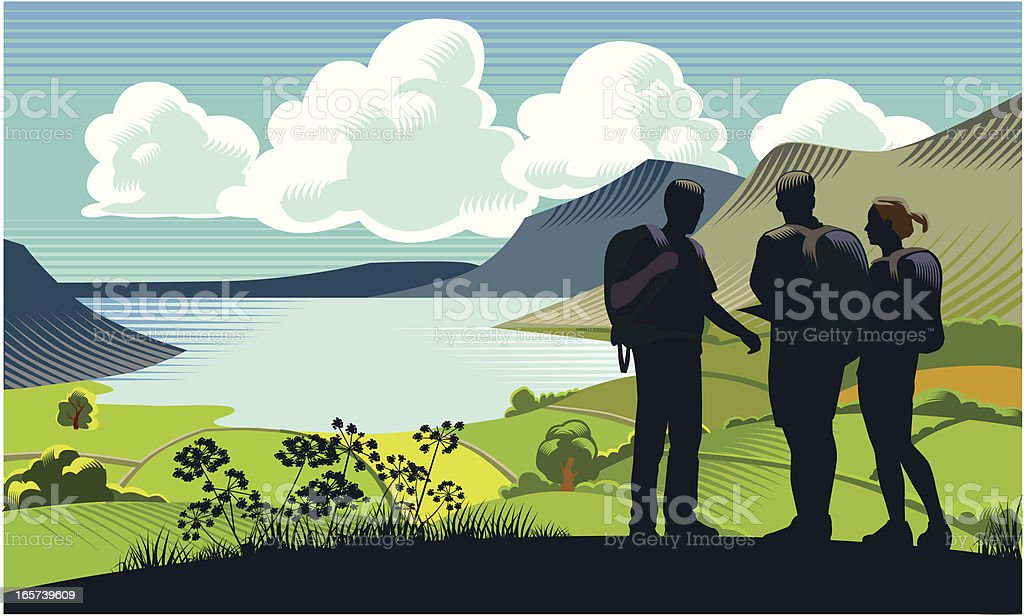 Three backpackers by a lake near mountains and green grass vector art illustration