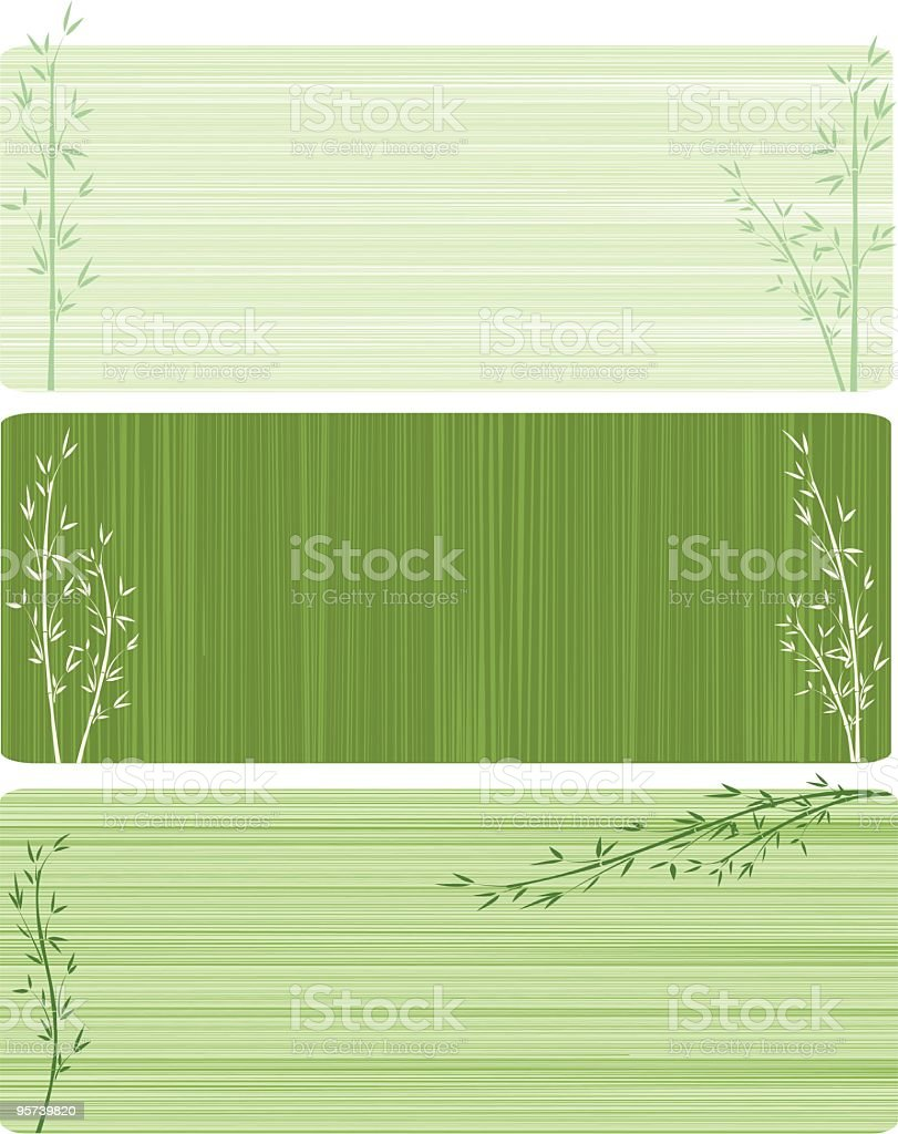 Three bamboo banners vector art illustration