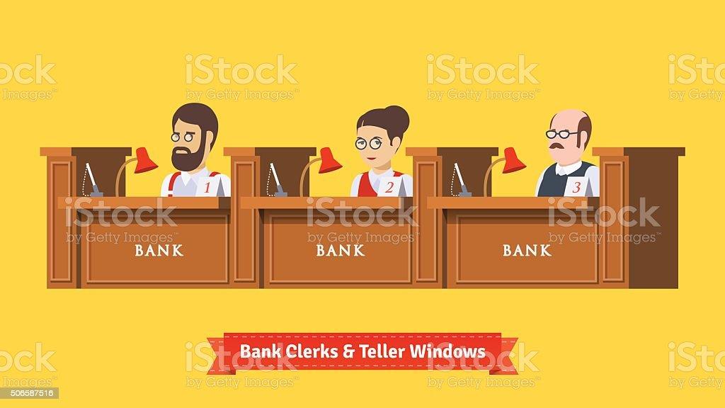Three bank clerks at work vektör sanat illüstrasyonu