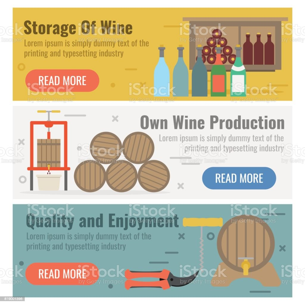 Three banner for wine production vector art illustration