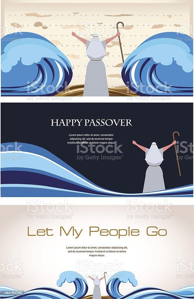 Three Banners of Passover Jewish Holiday vector art illustration