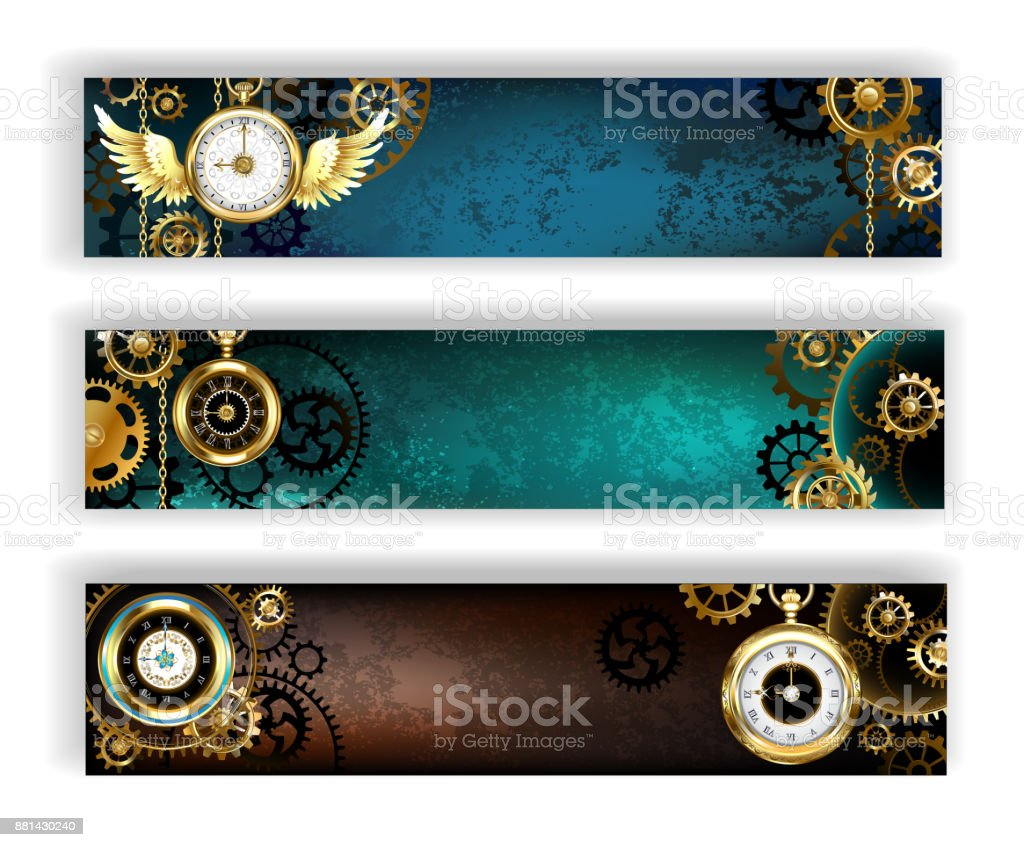 Three banners with clock vector art illustration