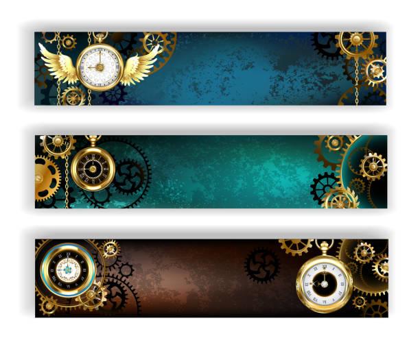 drei banner mit uhr - steampunk stock-grafiken, -clipart, -cartoons und -symbole