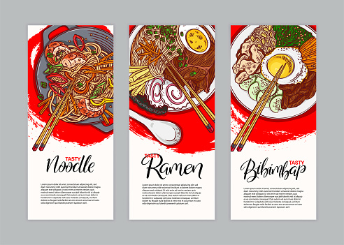 three banners with different asian food