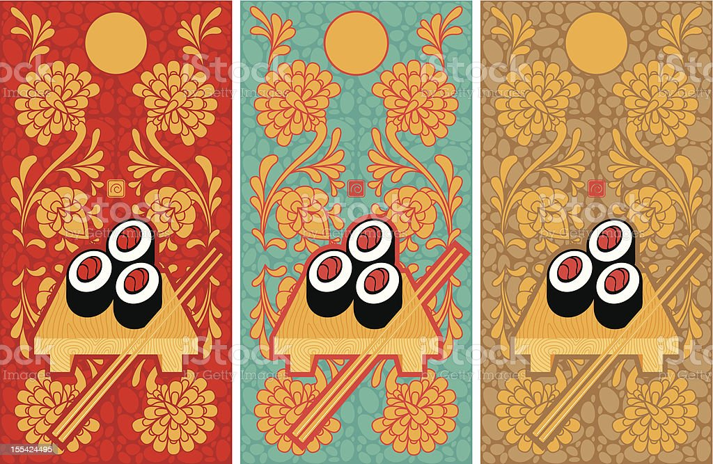 three banners with the sushi royalty-free stock vector art
