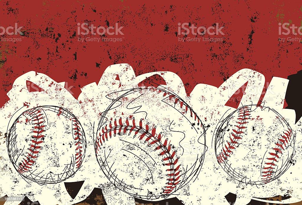 three baseballs vector art illustration