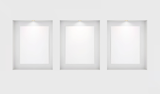 Three basics for your images in niches with backlighting on a white wall. Place for an exhibition. Top view mockup template for design. Light effect on a separate layer. Vector.