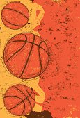 Sketchy, hand drawn basketballs over an abstract background.The background extends outside the square clipping mask. To edit, select the background and go to OBJECT-> CLIPPING MASK-> EDIT CONTENTS OR RELEASE.