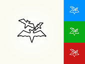 Three Bats Flying Black Stroke Linear Icon. This royalty free vector illustration is featuring a black outline linear icon on a light background. The stroke is editable and the width of the line can be easily adjusted. The icon can also be converted to have a black fill color. The download includes 3 additional versions of this icon on blue, green and red background.