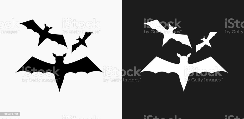 Three Bats Flying Icon on Black and White Vector Backgrounds vector art illustration