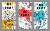 Three BBQ party  flyers design templates. Outline sketch vector hand drawn illustration with different food and colorful spots on white background