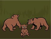 Vector illustration of two adult bears and a baby bear in various positions. The baby bear is scared, one of the adult bears is looking awayand the other is looking at the baby bear. Silhouette of forest in the background.