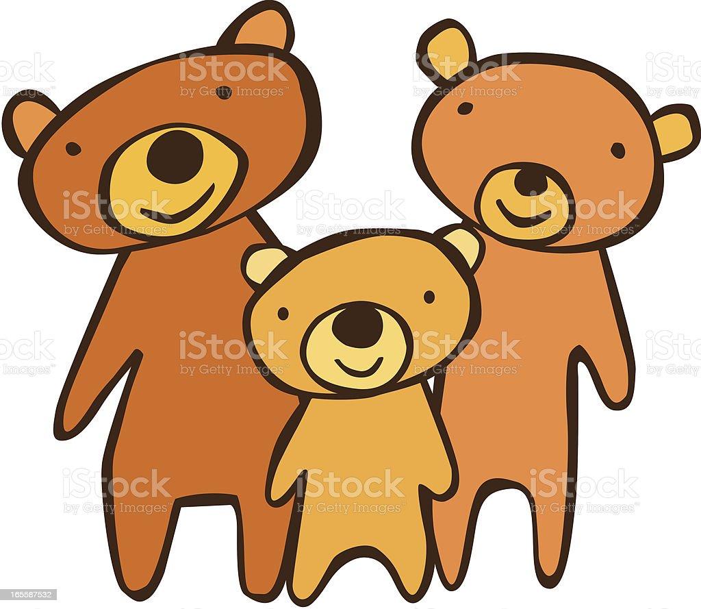 Three Bears vector art illustration