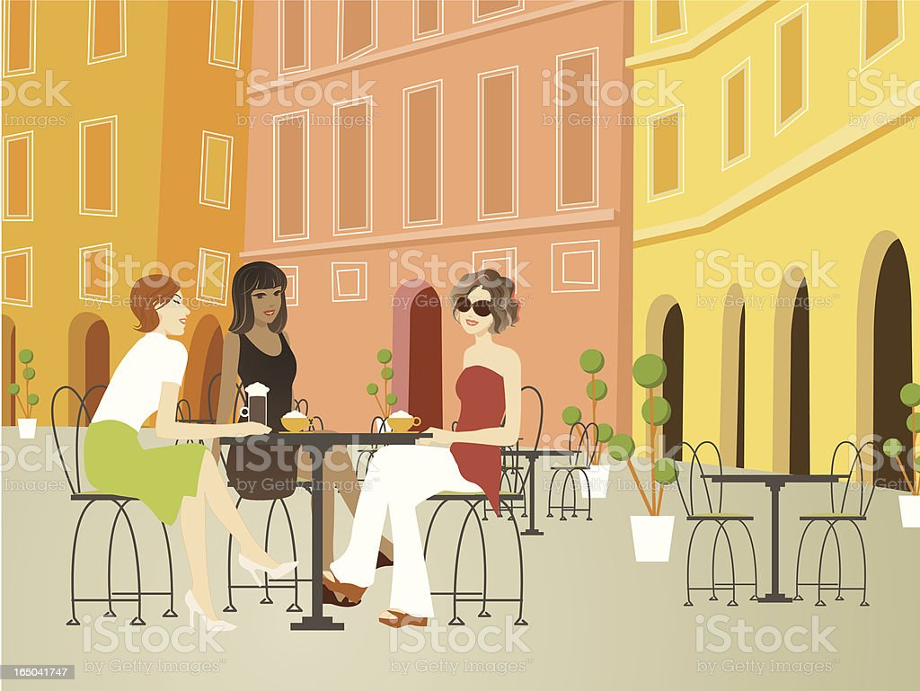 Three beautiful women hanging out at sidewalk cafe in Europe royalty-free stock vector art