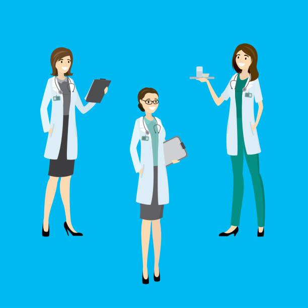 ilustrações, clipart, desenhos animados e ícones de enfermeira do hospital três beleza - enfermeira