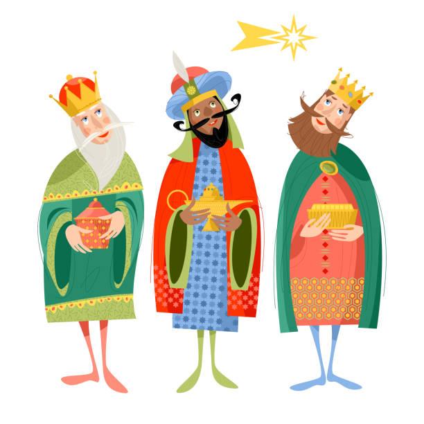 ilustrações de stock, clip art, desenhos animados e ícones de three biblical kings: caspar, melchior and balthazar. three wise men. - reis magos