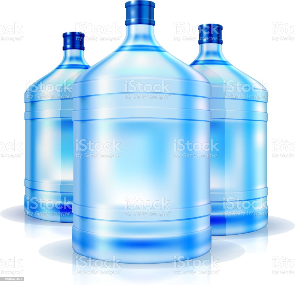 Three big bottles of water  for cooler royalty-free stock vector art