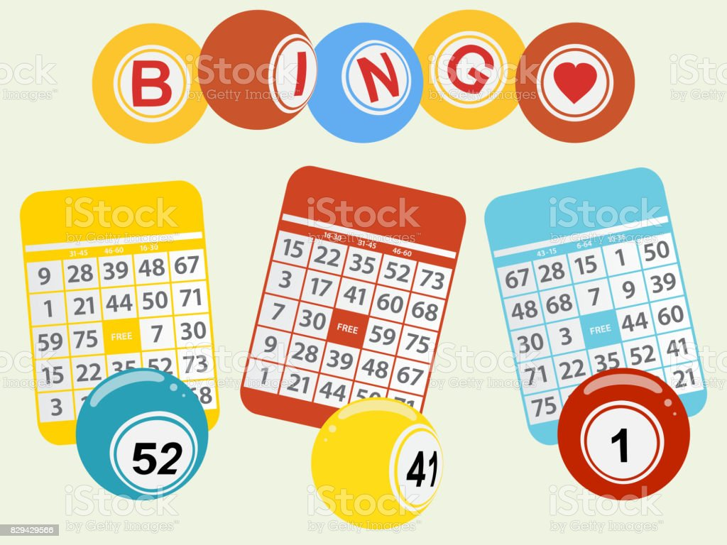 Three bingo balls and cards on light green background vector art illustration
