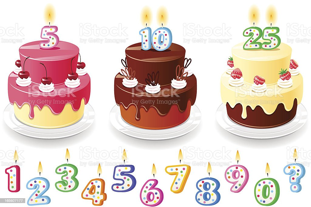 Three birthday cakes vector art illustration