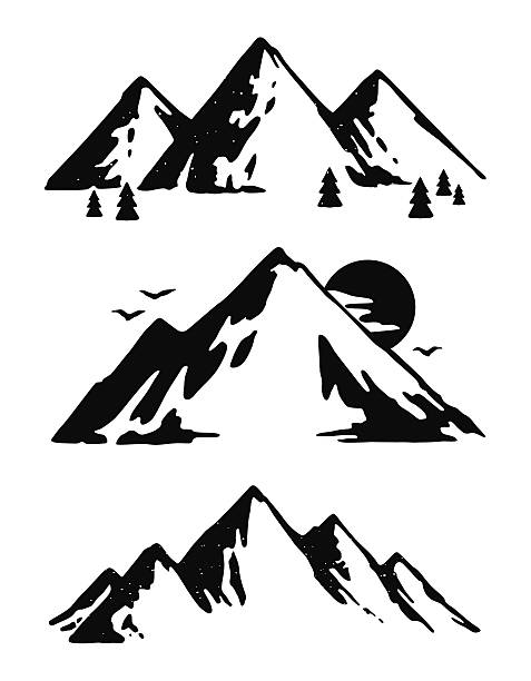 three black and white mountain images - black and white mountain stock illustrations, clip art, cartoons, & icons
