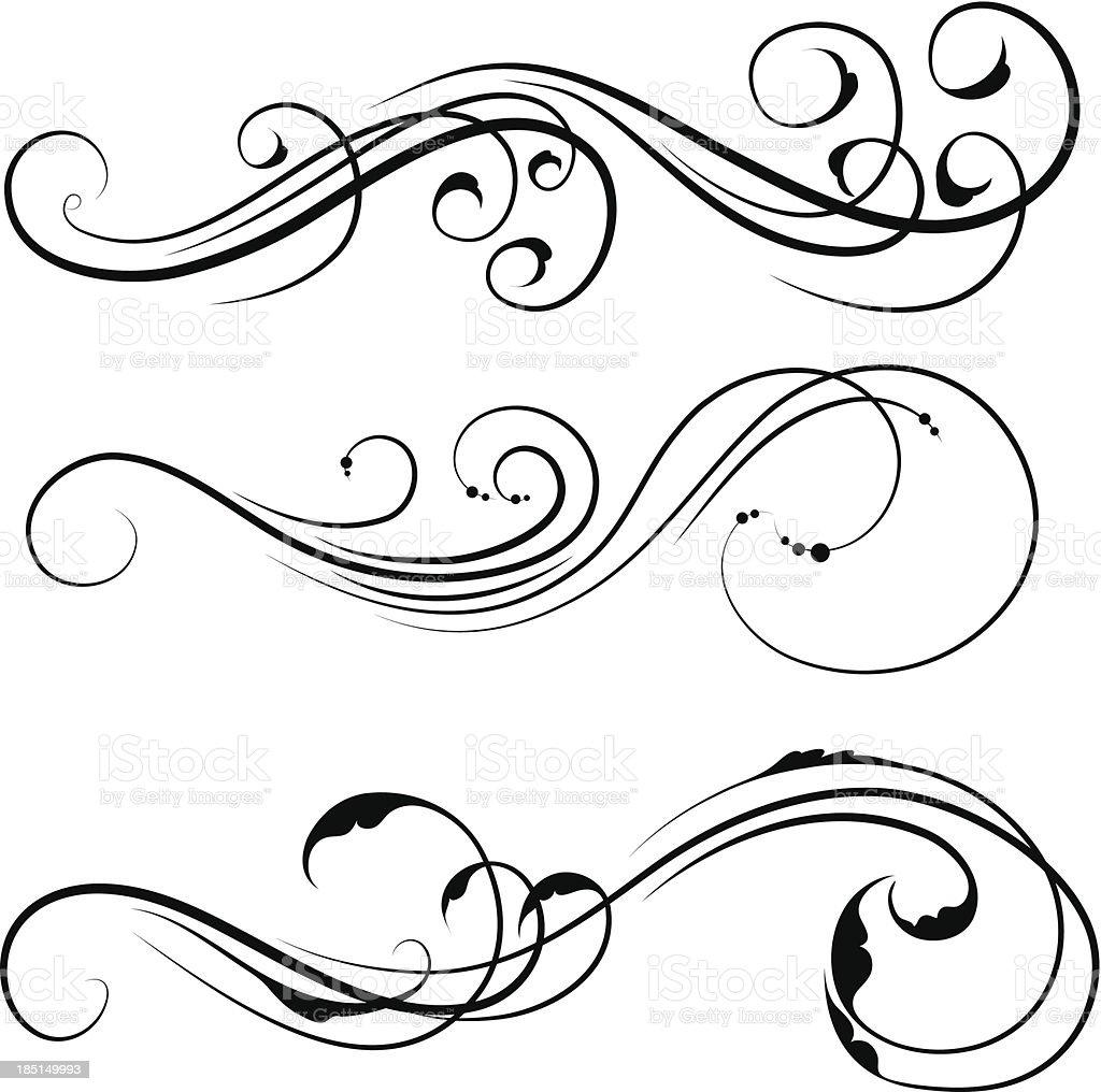 Three black and white swirl designs royalty-free stock vector art