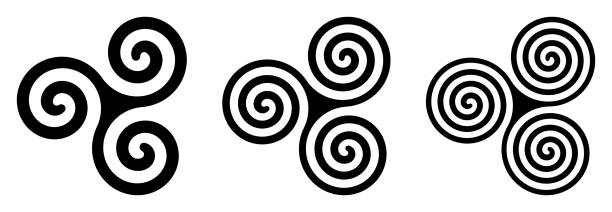 Three black celtic triskelion spirals over white Three black celtic triskelion spirals over white. Triple spirals with two, three and four turns. Motifs of twisted and connected spirals, exhibiting rotational symmetry. Isolated illustration. Vector. celtic style stock illustrations